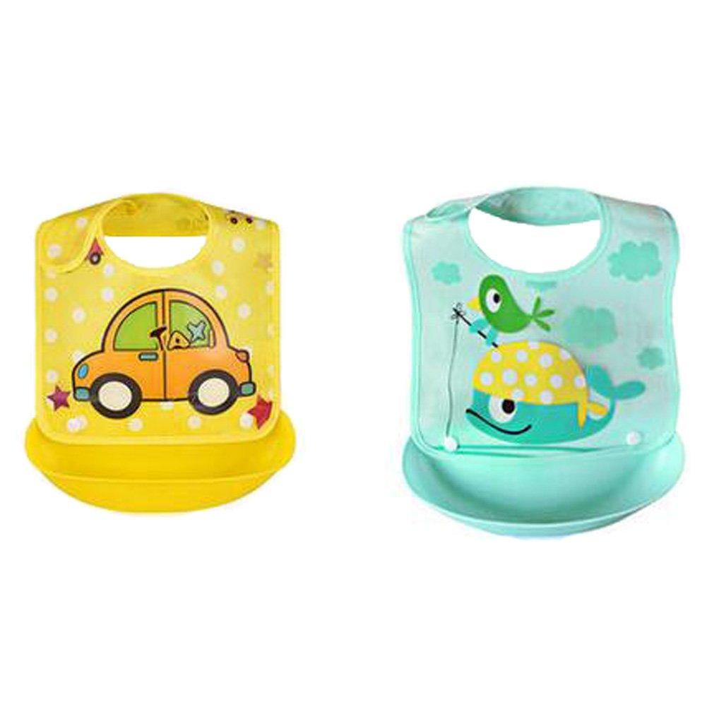2PCS New Type Closure Baby Feeding Clothes Waterproof Silicone Baby Feeding Bibs, NO.10
