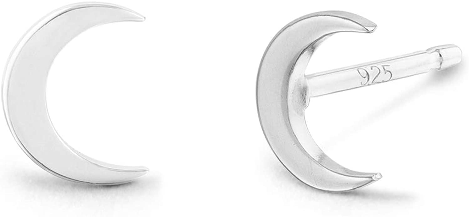 Boma Jewelry Sterling Silver Crescent Moon Stud Earrings