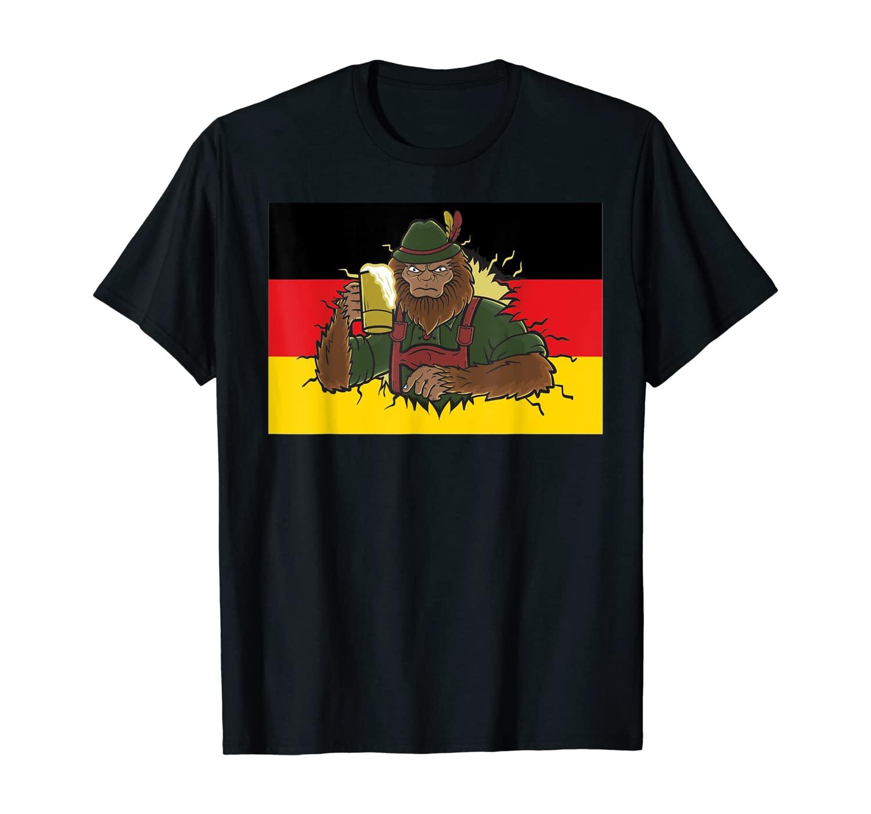 Bigfoot Prost Beer Mug German Flag Lederhosen Oktoberfest T-Shirt