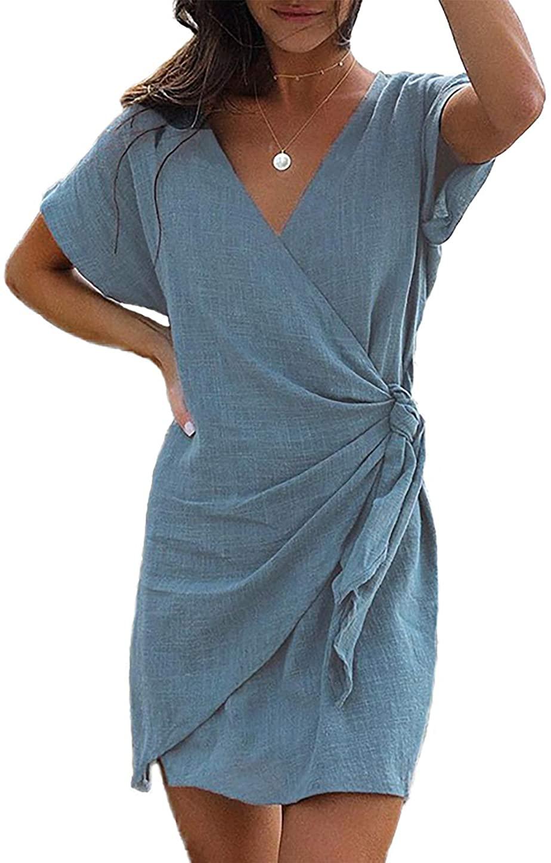HZSONNE Women's Casual Solid Wrap Front V Neck Short Sleeve Tie Knot Belt Waist Cotton Plain Simple T-Shirt Loose Mini Dress
