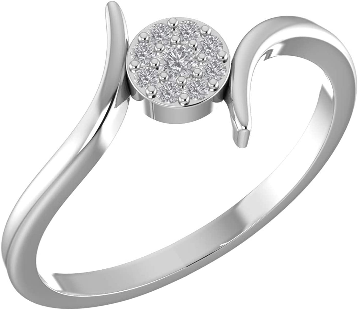 Amayra Diamond Ring 0.1 CTW-9 Natural Round Stones Set in 925 Sterling Silver- Brilliant Cut- Perfect for Bridal Promise Ring,Anniversary,Daily wear or Parties (Color-GH Clarity-VS-SI)