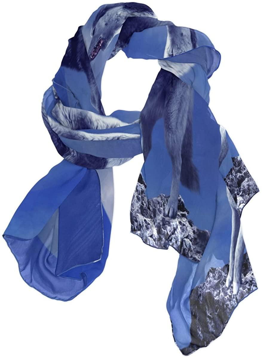 Use4 Fashion Moon Wolf Chiffon Silk Long Scarf Shawl Wrap
