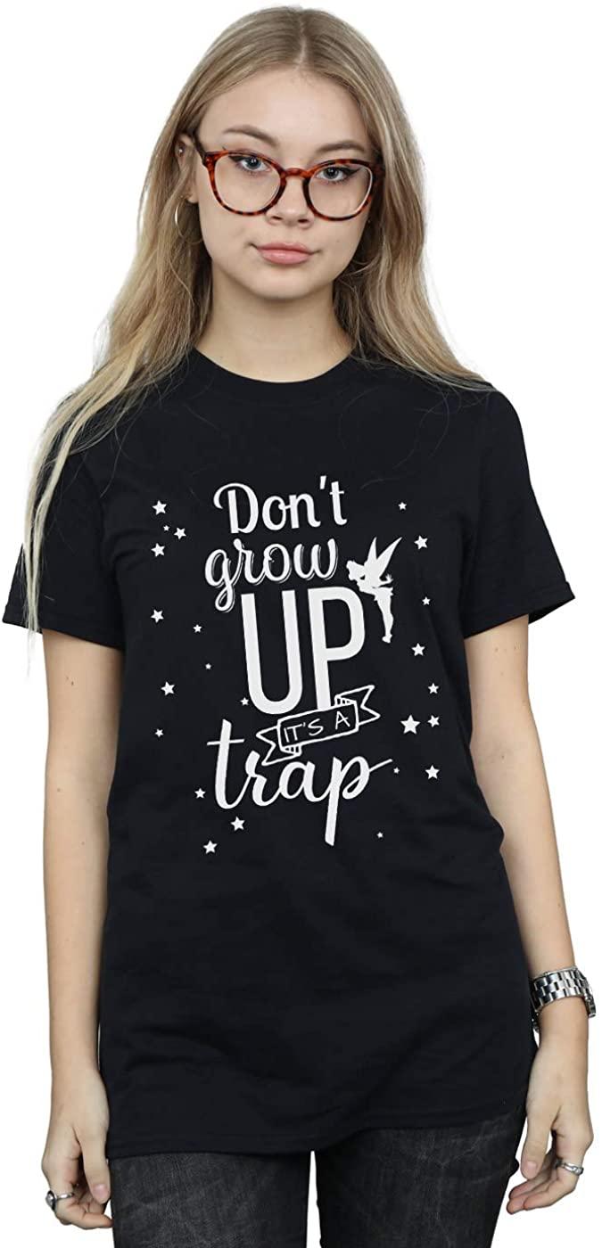 Disney Women's Tinker Bell Don't Grow Up Boyfriend Fit T-Shirt Black Small