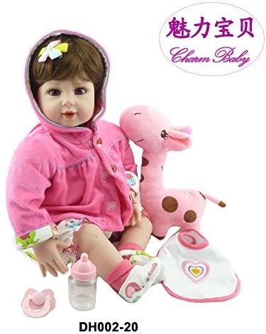 WAWA-HAOKEAI 22 Inch Soft GentleTouch Vinyl Soft Body Pink Reborn Baby Girl Realistic Looking Newborn Doll with Pacifier & Pink Deer Christmas Baby Dolls