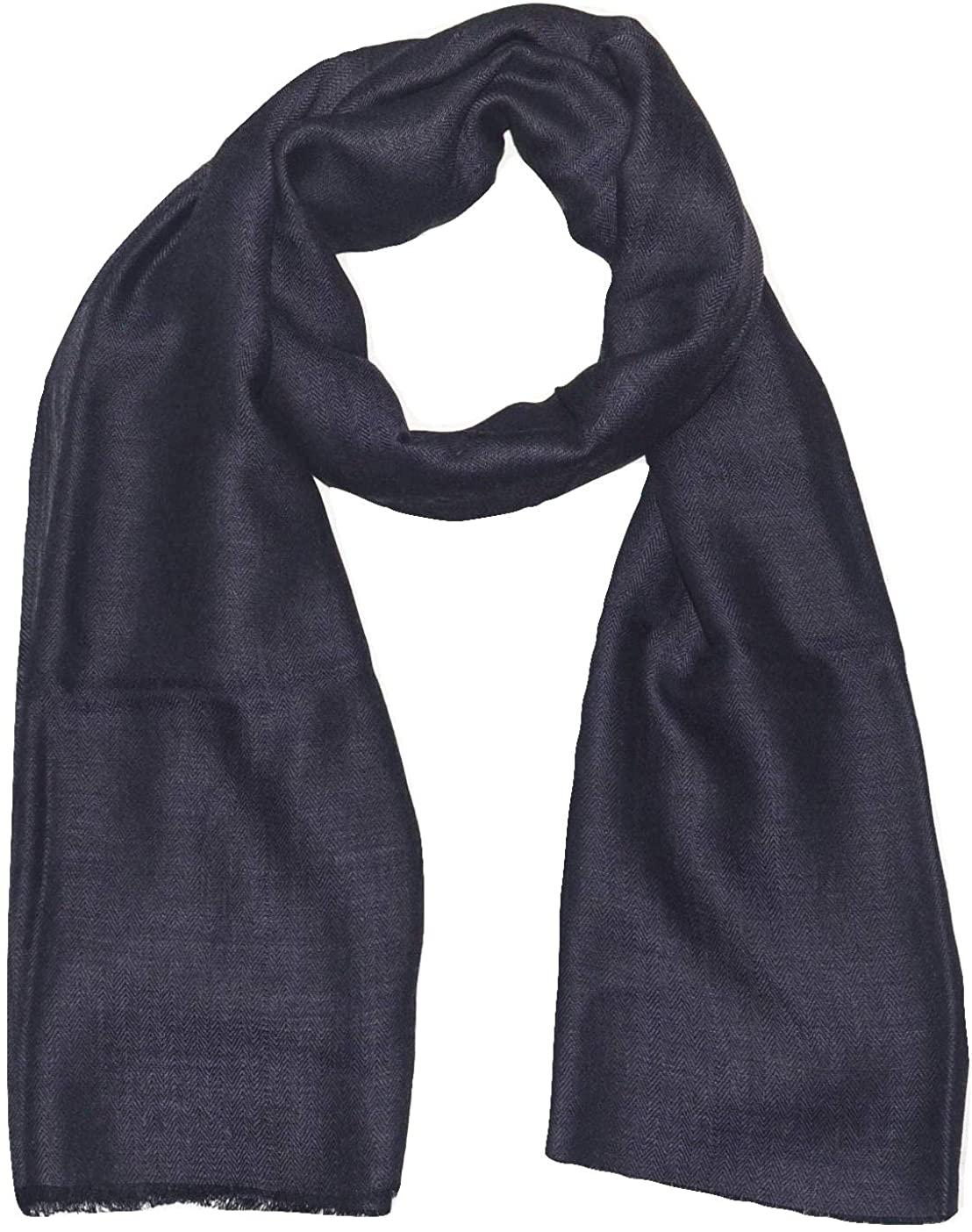 Pashmina Scarf, Fine Wool & Silk, Two Tone Herringbone Jacquard, Soft, Light, Warm Autumn Winter Scarf.
