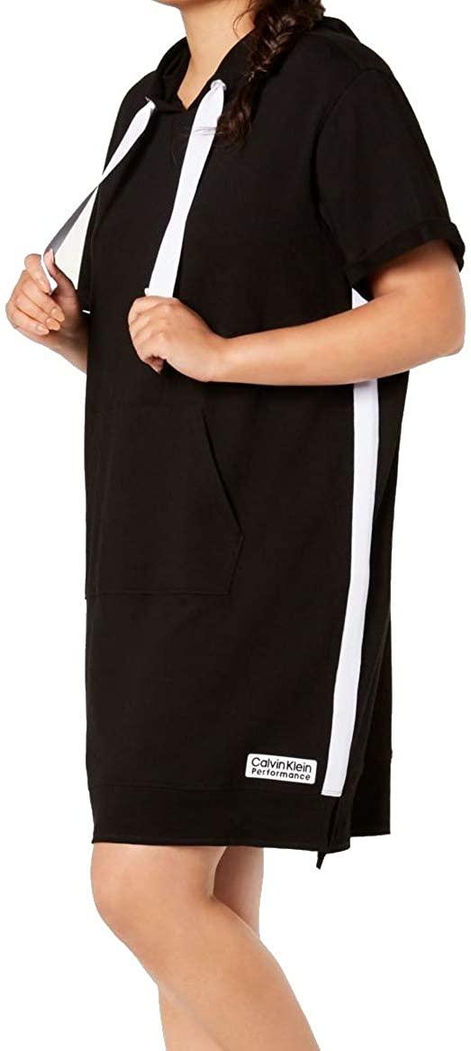 Calvin Klein Performance Womens Plus Hoodie Stripe Dress Black 2X