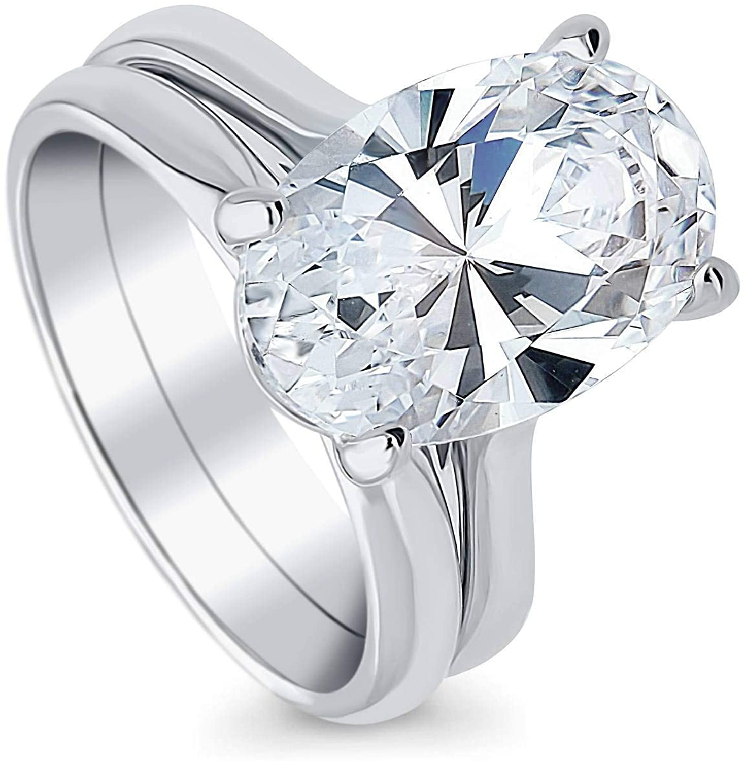 BERRICLE Rhodium Plated Sterling Silver Oval Cut Cubic Zirconia CZ Solitaire Engagement Wedding Ring Set 5.5 CTW