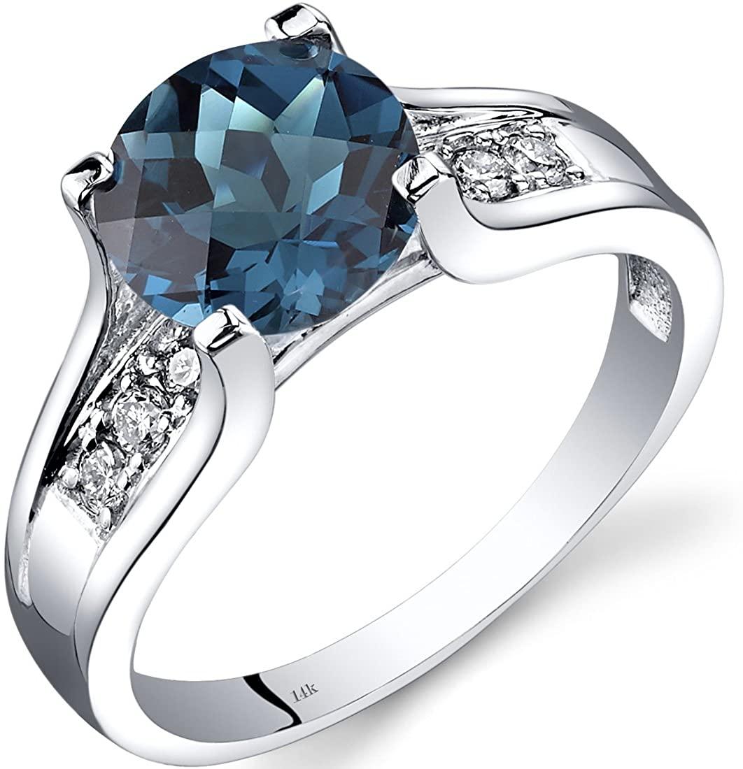 14K White Gold London Blue Topaz Diamond Cathedral Ring 2.25 Carat