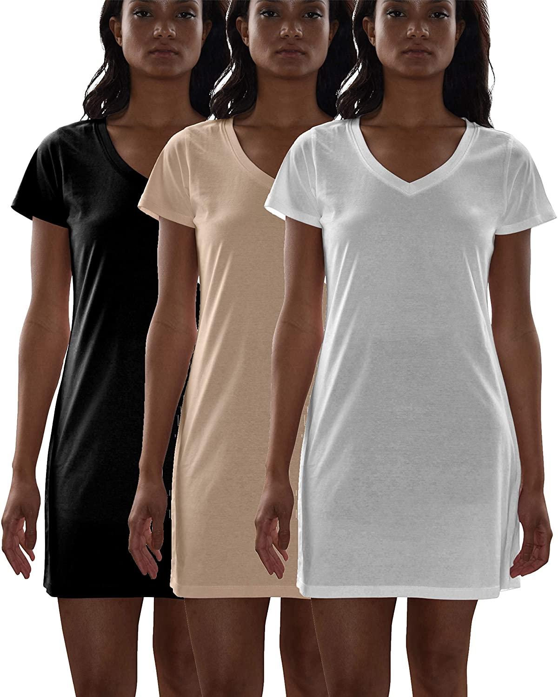 Sexy Basics Women's Cotton Soft V-Neck Sleepwear Shirt/Nightwear Shirt -Pack of 3