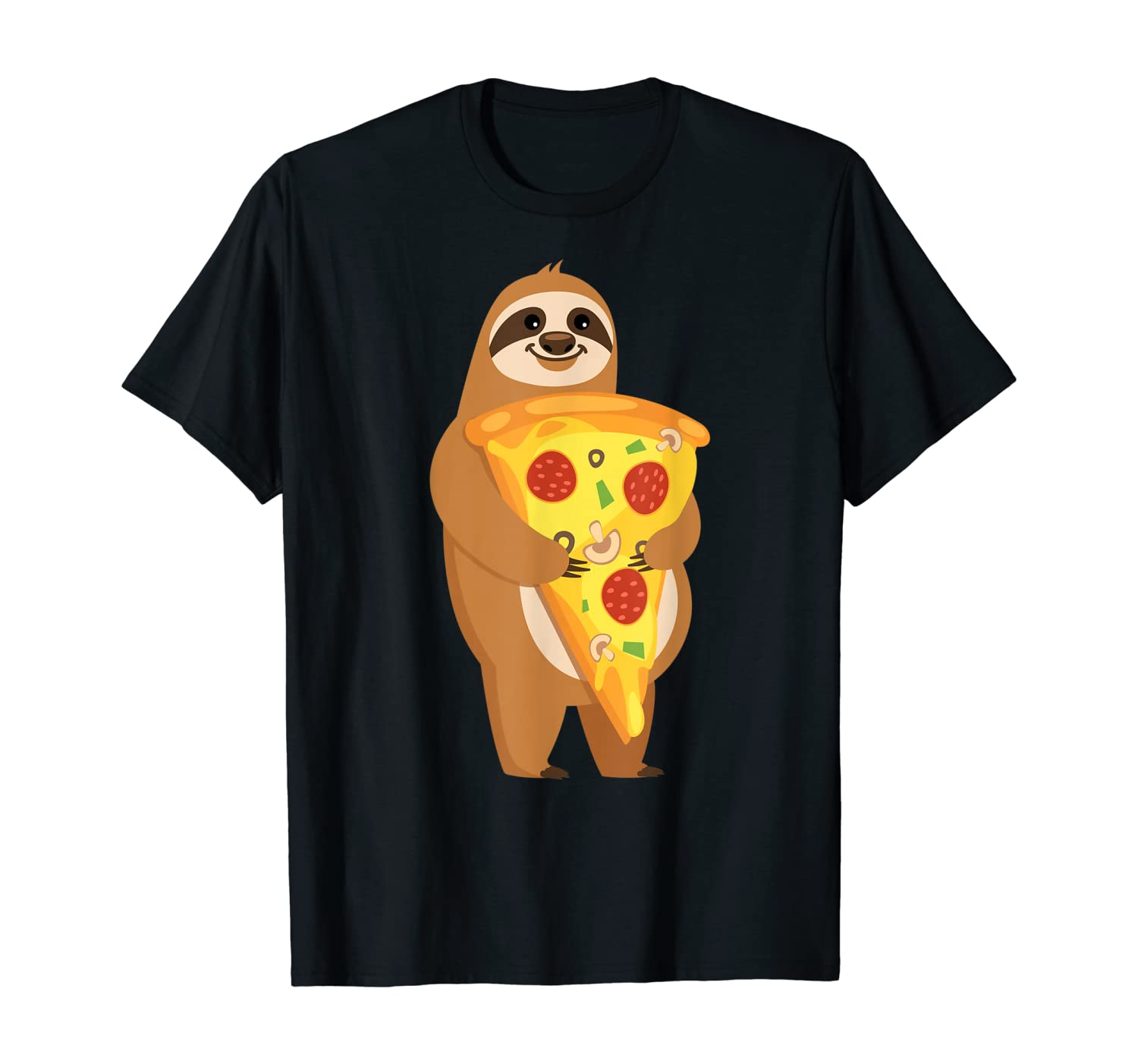 Sloth Holding Pepperoni Pizza Foodie Design T-Shirt