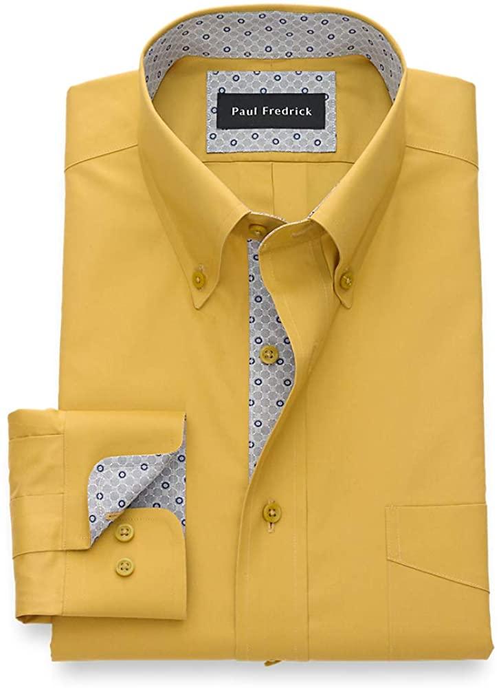 Paul Fredrick Men's Non-Iron Two Ply Cotton Solid, Button Down Collar, Button Cu