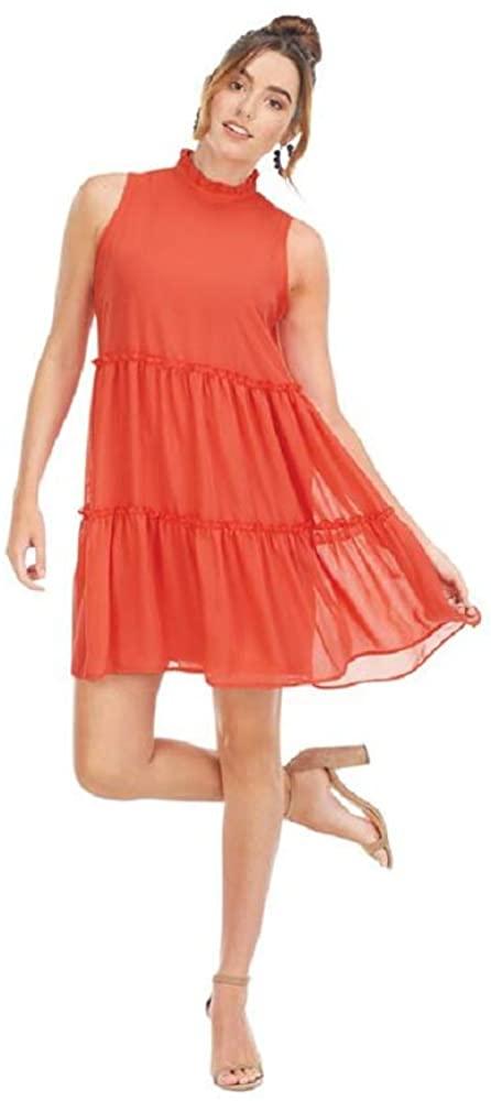 Mud Pie Women Coral Naomi Ruffle Dress