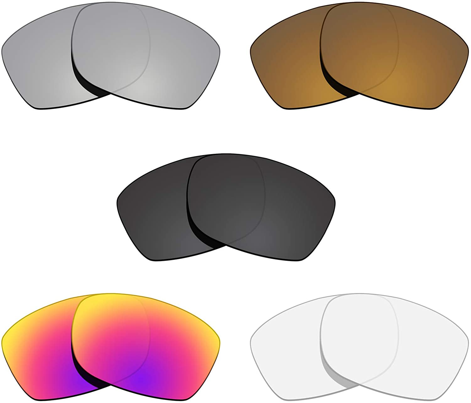 Glintbay 5 Pairs Replacement Lenses for Oakley Jupiter Squared OO9135 Pack-BSMBC