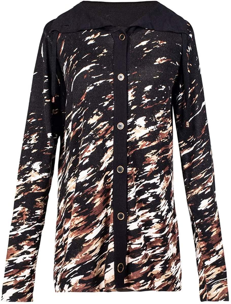 Hyipels Women's Cardigan Sweater Camouflage Open Front Long Sleeve Button Down Oversize Black Print Knit Outwear Outdoor