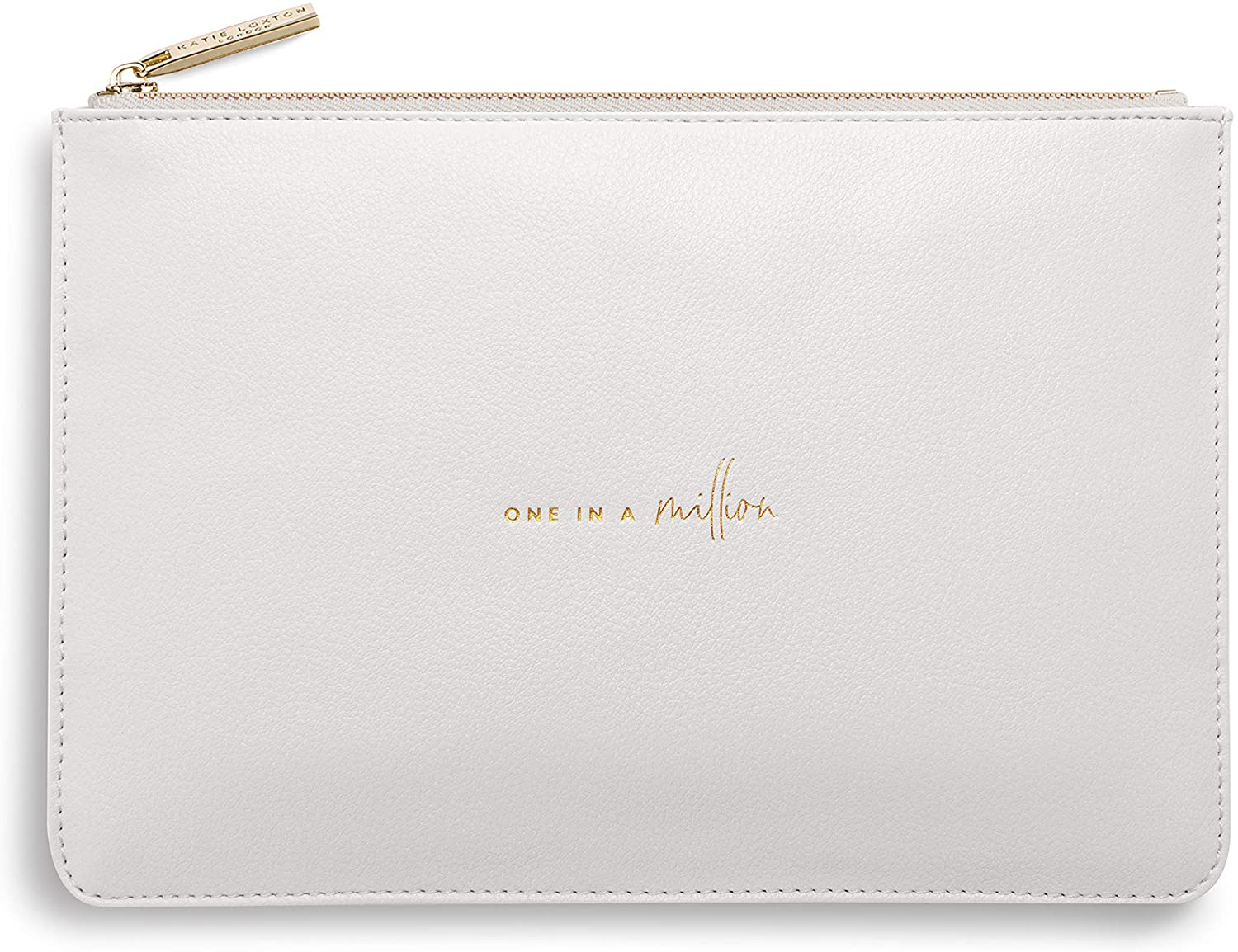 Katie Loxton One In A Million Women's Medium Vegan Leather Clutch Perfect Pouch Pale Grey