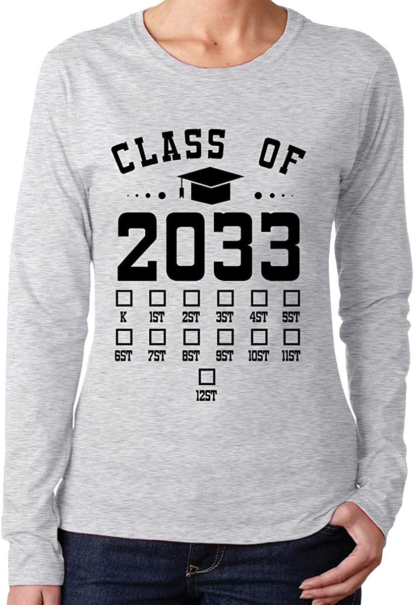 Class of 2033 Women Funny Long Sleeve Shits Crew Neck Tee