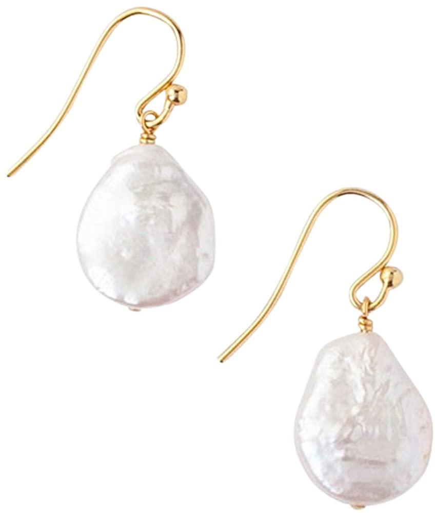 Chan Luu White Freshwater Cultured Keshi Pearl 18K Gold Plated Earrings