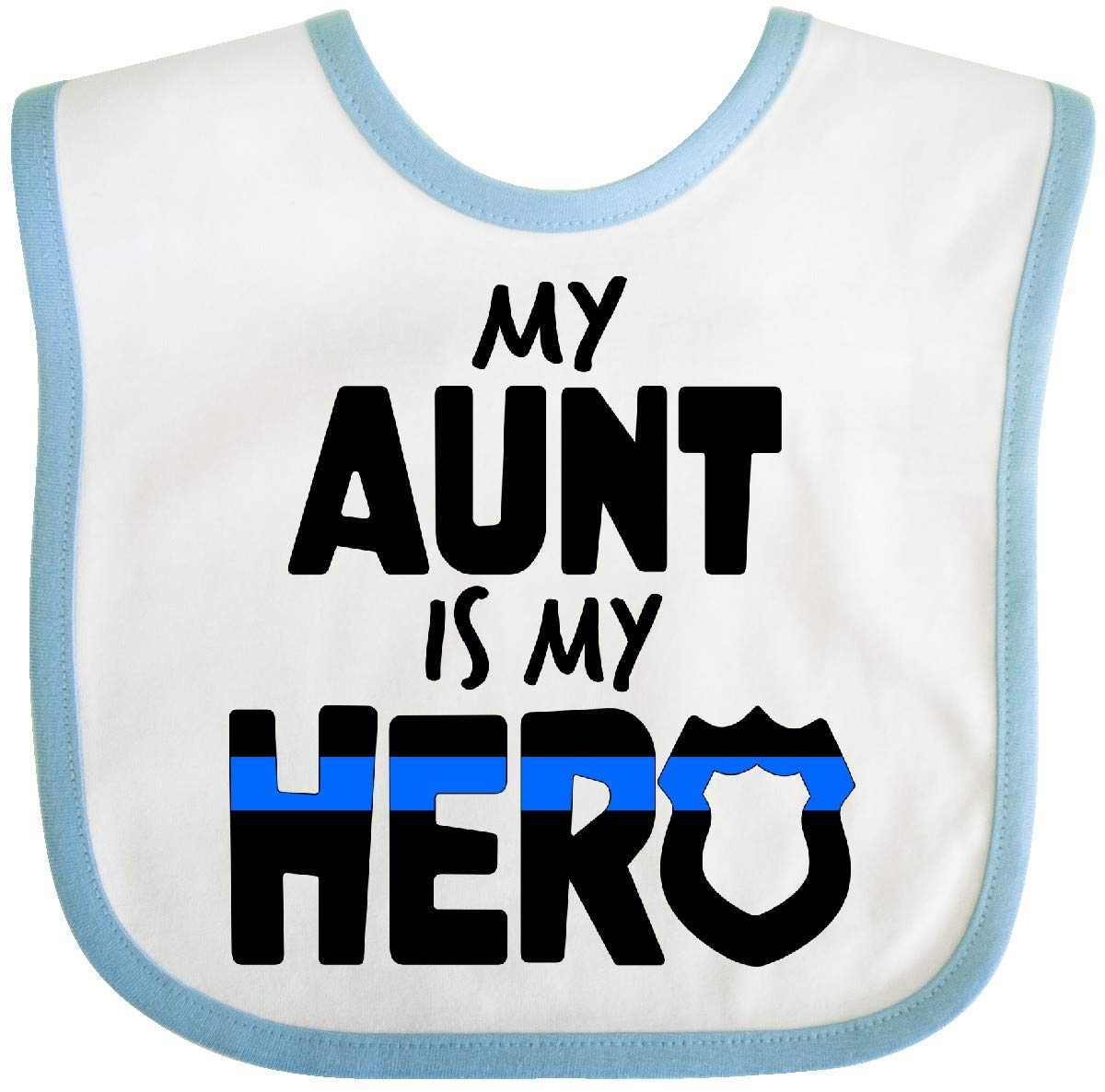 Inktastic My Aunt is My Hero Police Officer Family Baby Bib White/Blue 39400