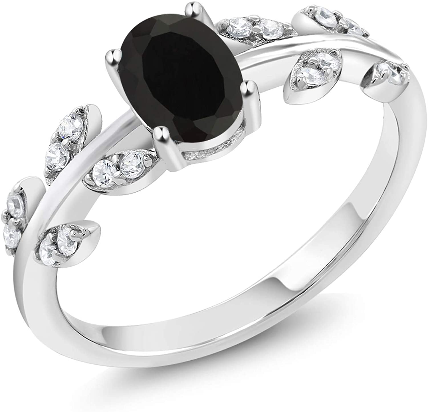 Gem Stone King 925 Sterling Silver Black Onyx Olive Women's Vine Ring 1.01 Ct Oval Gemstone (Available 5,6,7,8,9)