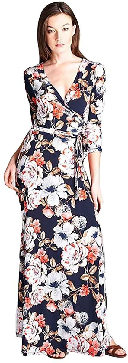 Tua USA 3/4 Sleeve Exotic Bohemian Print Stretch Knit Wrap Maxi Dress