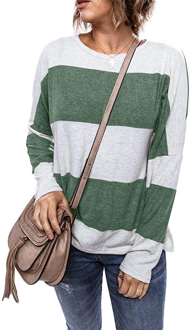 Vivitulip Women's Color Block Fall Henley Long Sleeve Crew Neck Casual Top T Shirt