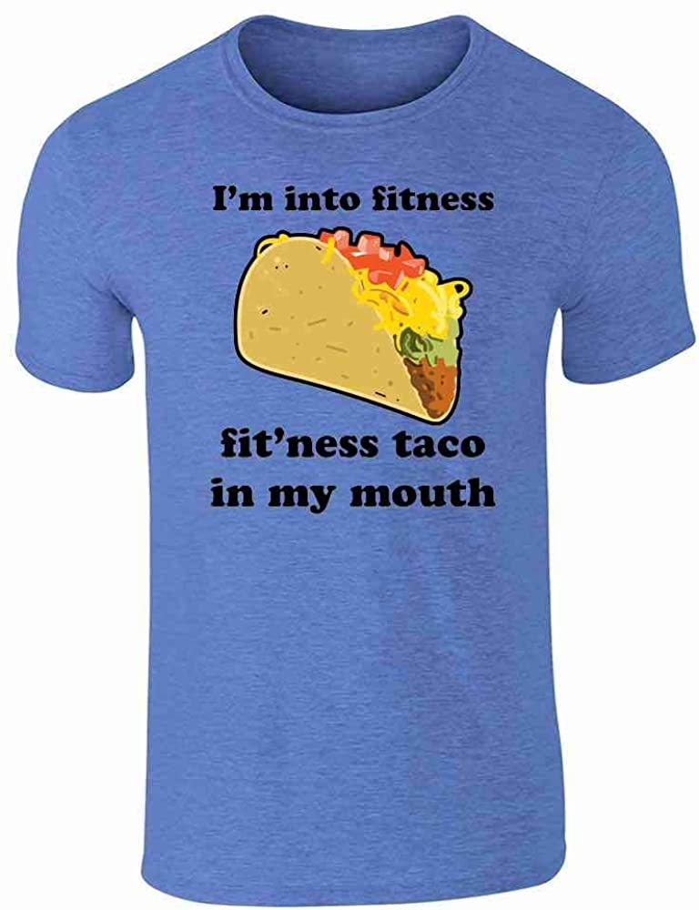 I'm Into Fitness Fit'ness Taco in My Mouth Funny Heather Royal Blue L Graphic Tee T-Shirt for Men