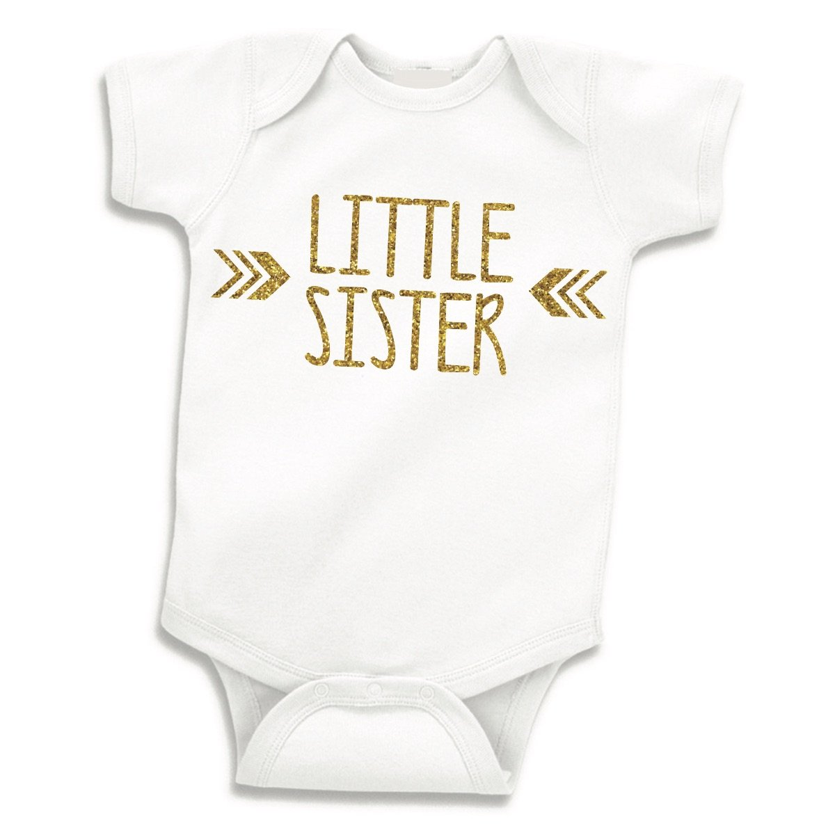 Bump and Beyond Designs Little Sister Shirt, Baby Girl Outfit, Newborn Girl Outfits (0-3 Months),White