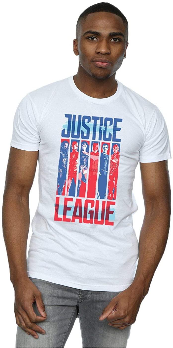 DC Comics Men's Justice League Movie Team Flag T-Shirt