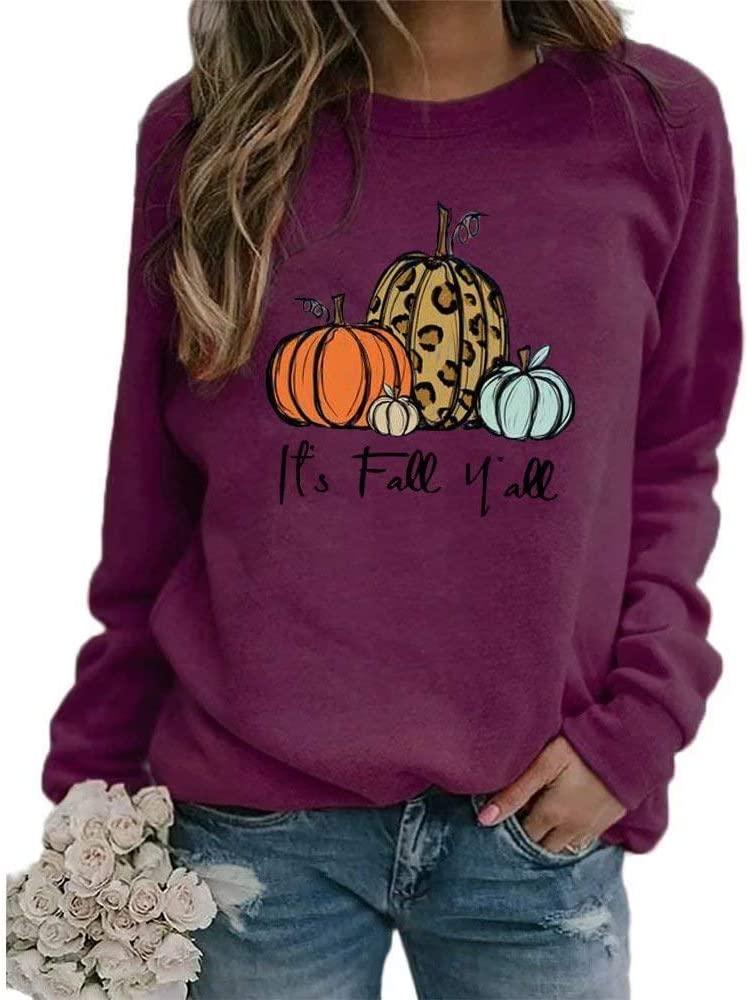 It's Fall Yall Graphic T-Shirt Women Thanksgiving Pumpkin Printed Long Sleeve Color Block Top
