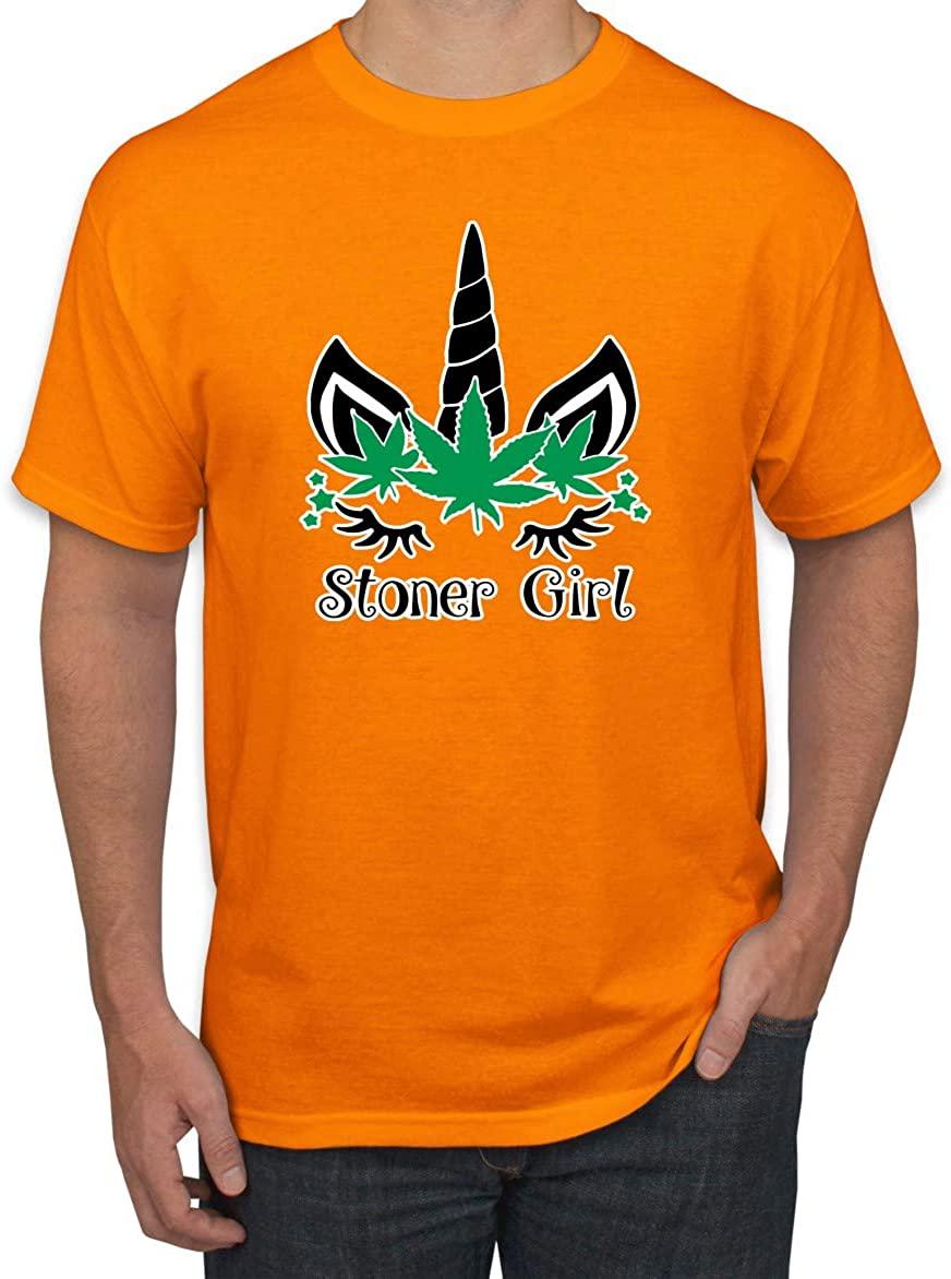 Unicorn Cannabis Marijuana Stoner Girl 420| Mens Humor Graphic T-Shirt
