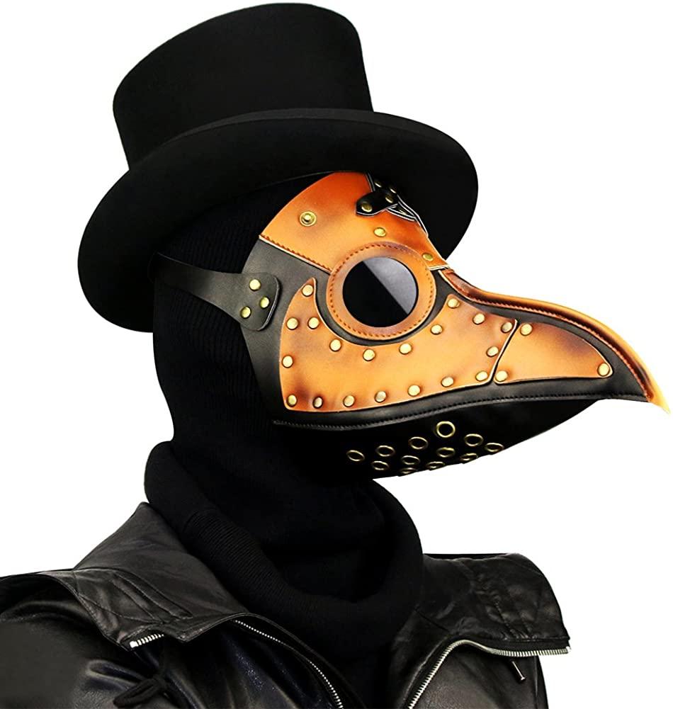 XY Fancy Plague Doctor Mask Bird Beak Cosplay Props Steampunk Halloween Party Leather Mask