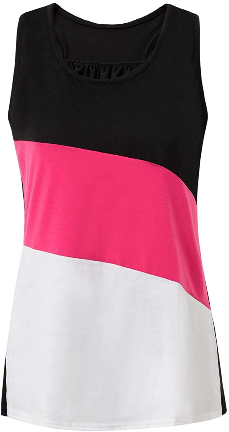 Womens Flowy Tank Tops Everyday Racerback Active Workout Shirts Casual Sleeveless Color Block Swing T-Shirts