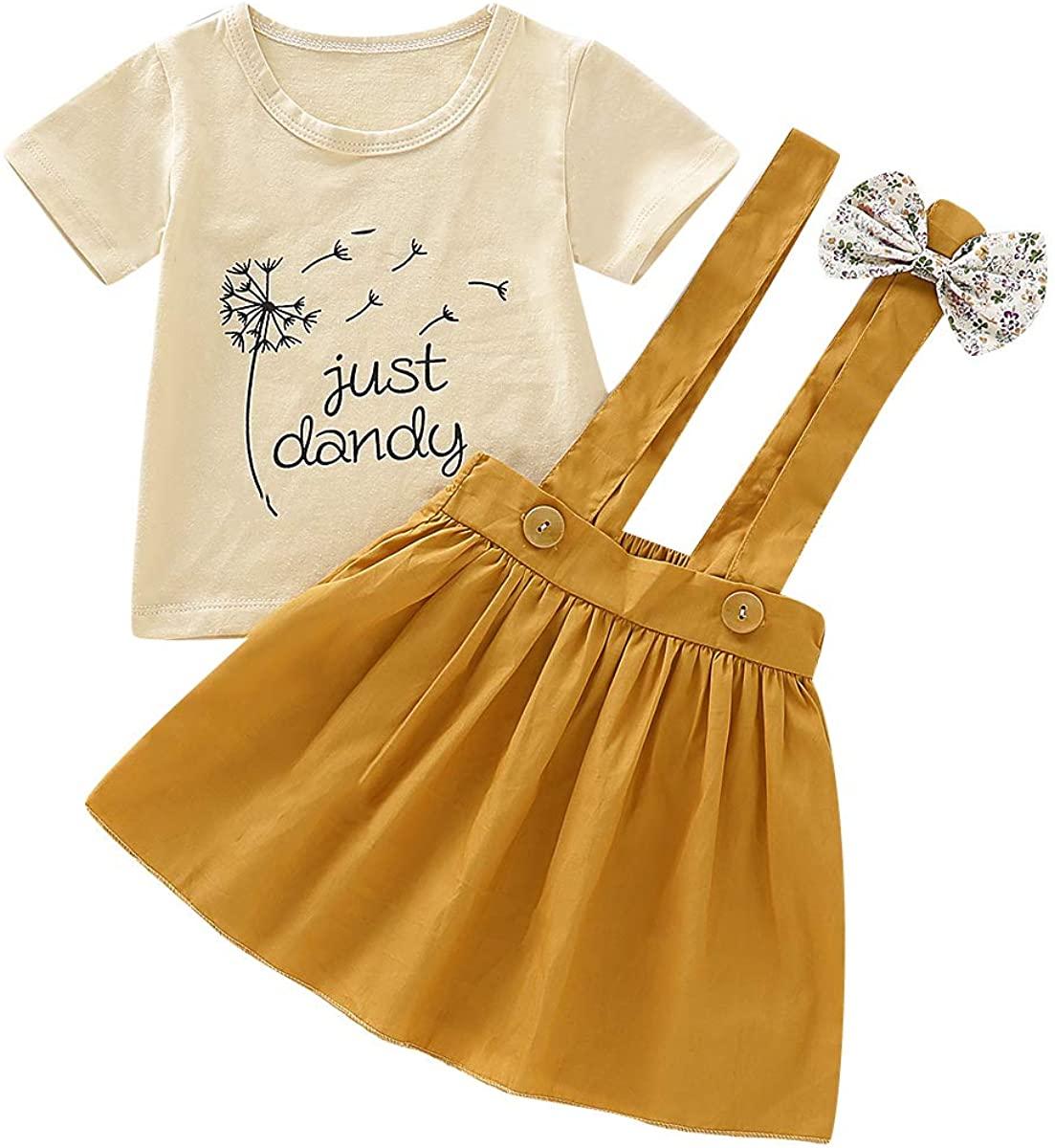 DaMohony Kids Baby Girl Skirt Outfits Short Sleeve Tops + Suspender Skirt Summer Clothes