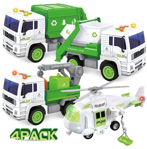 4 Pack City Waste Management Vehicle Truck Car Play Set for Kids Toddlers - 1:20 Scale Friction Powered Garbage Truck & Helicopter and Waste Collection Truck with Lights and Sounds