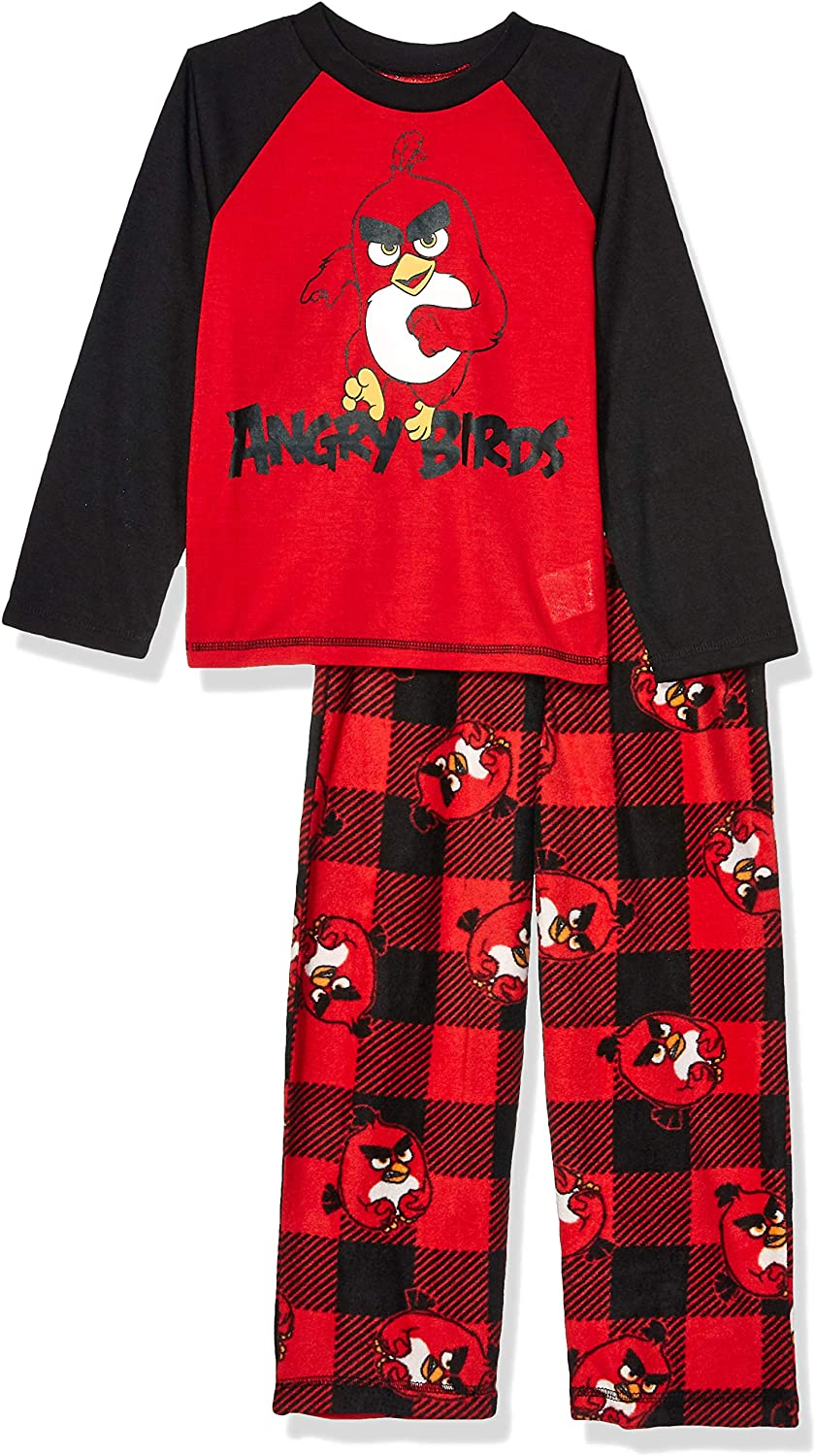 Angry Birds Boys' Big 2 Piece Pajama Set, Buff Check