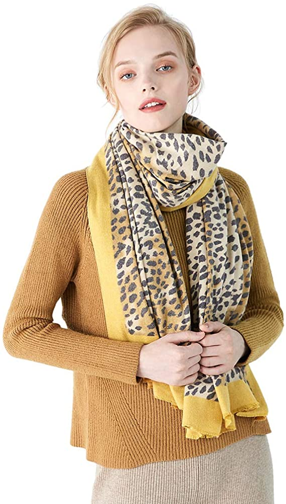 CARESEEN Women Leopard Print Scarf Fashionable Lightweight Plaid Scarf Shawl Wrap Striped Scarf Winter Warm