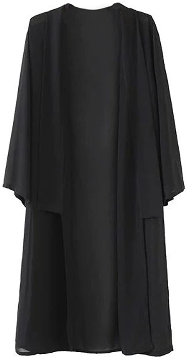 Hsumonre Womens Solid Loose Long Cardigan Chiffon Sheer Beach Wear Cover Ups Blouses