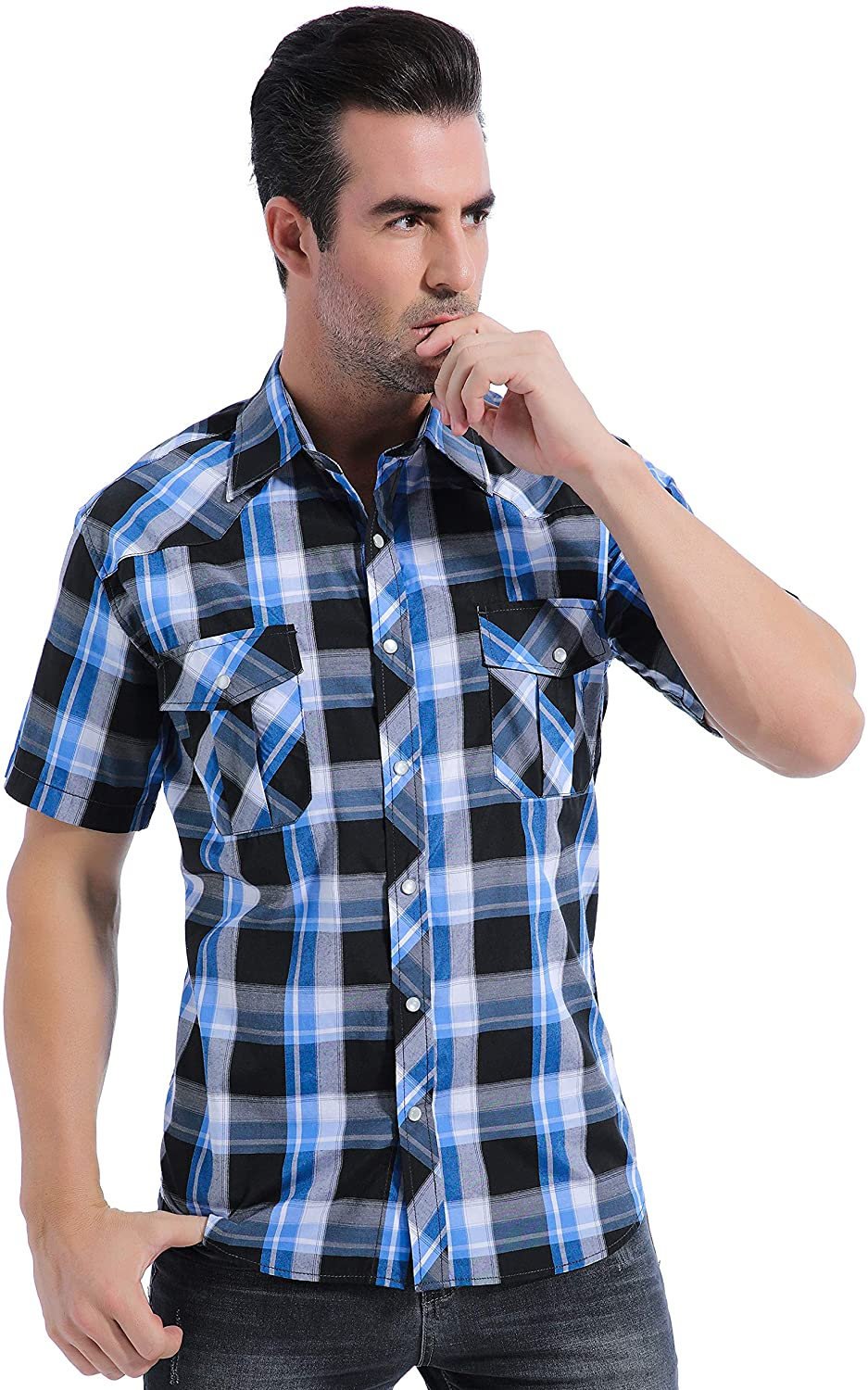 Coevals Club Men's Casual Plaid Pearl Snap Button Front Short Sleeve Shirt Regular Fit