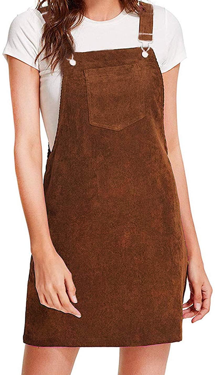 Yeokou Womens Casual Corduroy Bib Knee Length Overalls Pinafore Midi Dress Jumpsuit(Brown-XL)