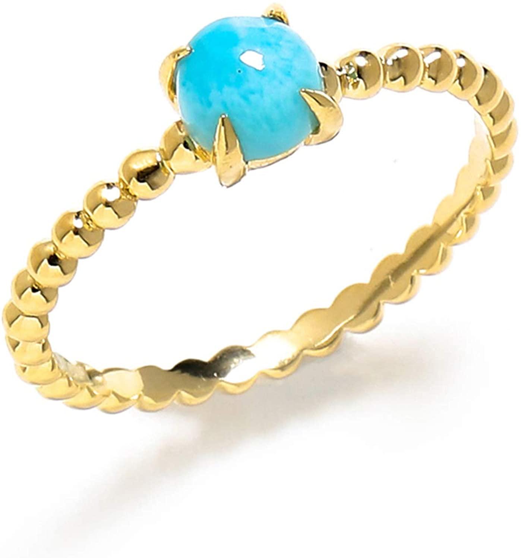YoTreasure 0.60 Ct Larimar Solid 10k Yellow Gold Beaded Solitaire Ring Jewelry