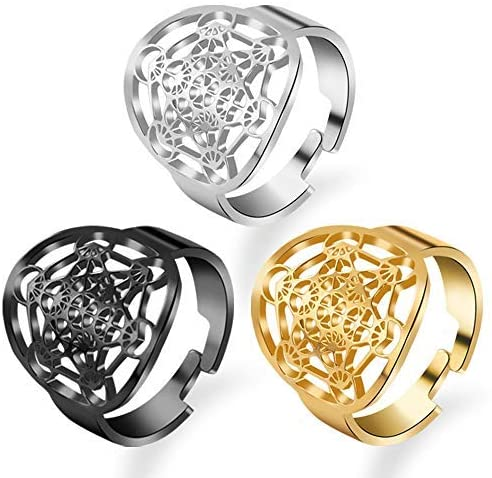 FLYUN 3 Pcs Adjustable Open Knuckle Rings Women Men Stainless Steel Hollow Carved Ring Band Fashion Jewelry