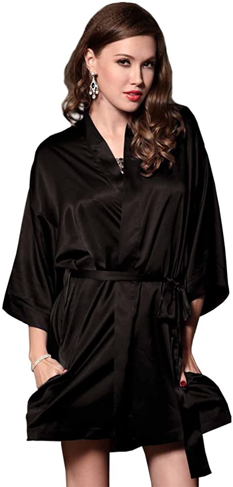 LINGERLOVE Satin Kimono Sexy Vintage Robes for Women Chemise Short Sleepwear
