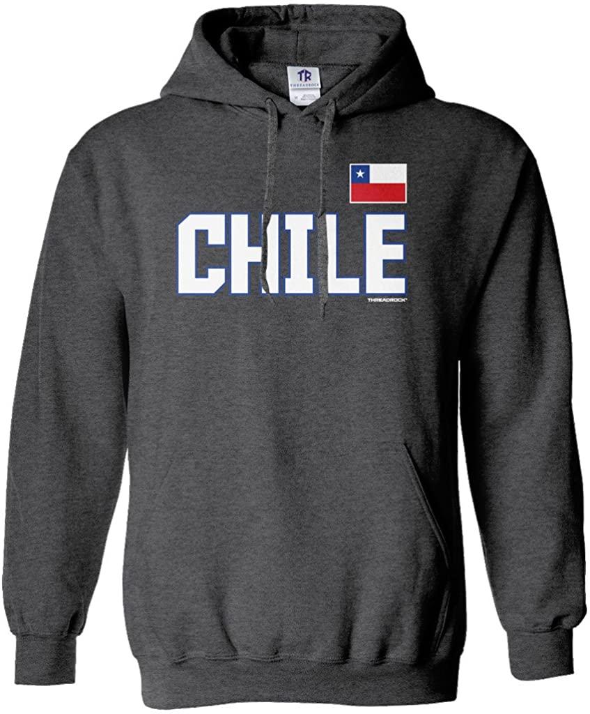 Threadrock Men's Chile National Pride Hoodie Sweatshirt