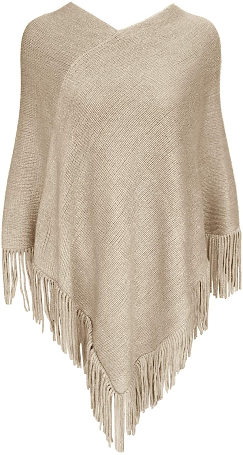 Womens Sparkle Yarn Pullover Sweater Poncho with Fringe Loose Turtle Neck Gifts for Women Mom