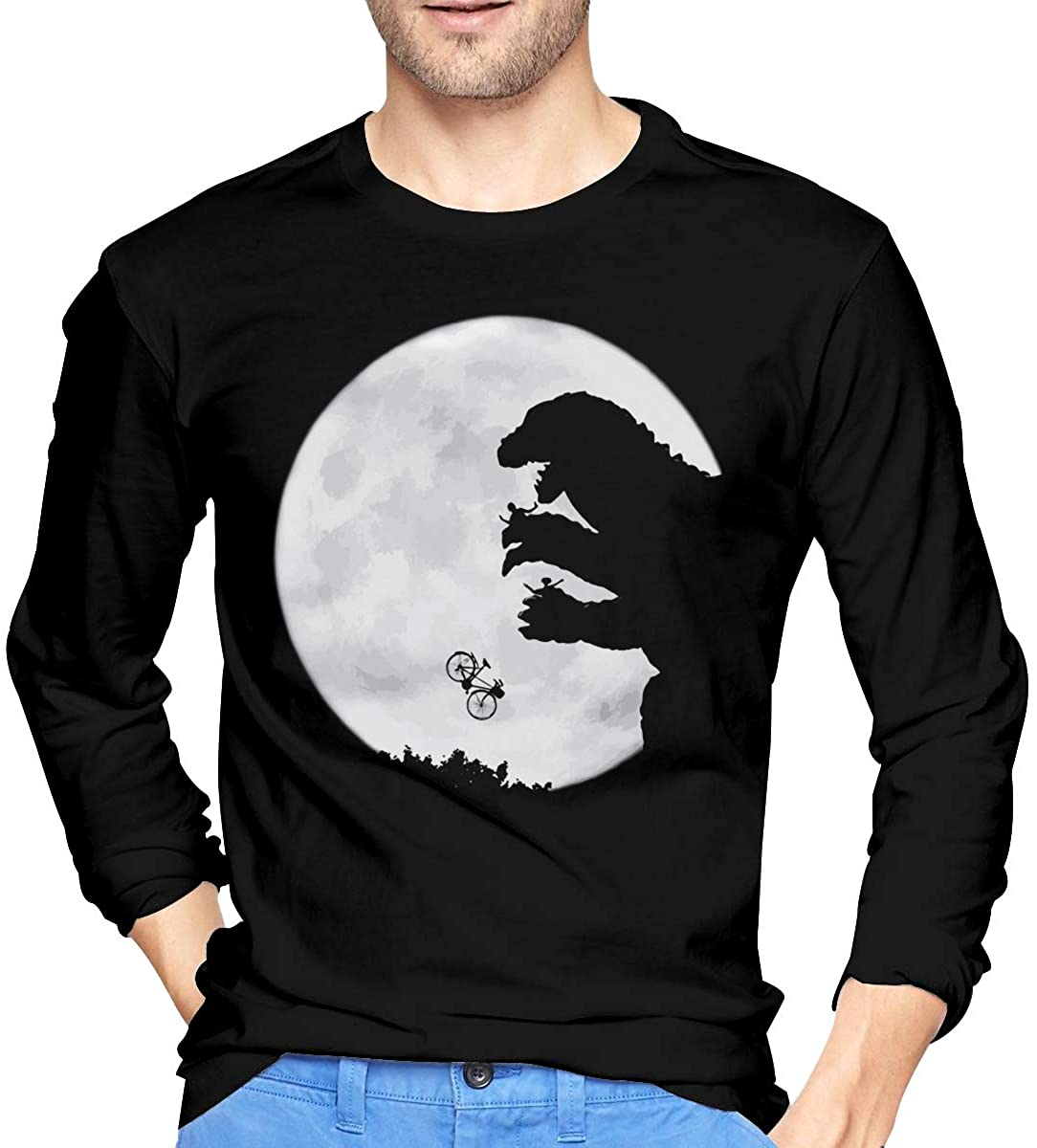 Men's Godzilla T Shirt Cool Long Sleeve T-Shirts Black