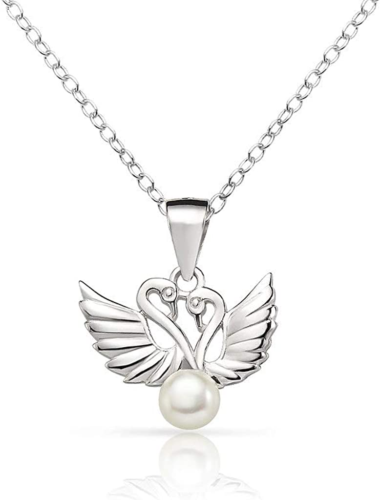 SolidSilver - Sterling Silver Swan Simulated Fresh Water Pearl Stud Earrings and Pendent Necklace