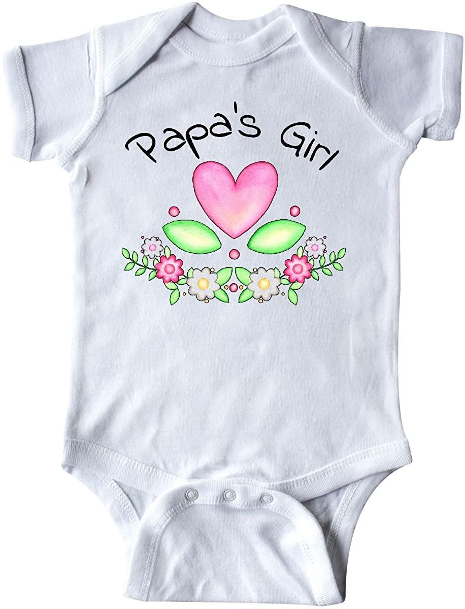 inktastic Papas Girl- Heart Flowers Infant Creeper