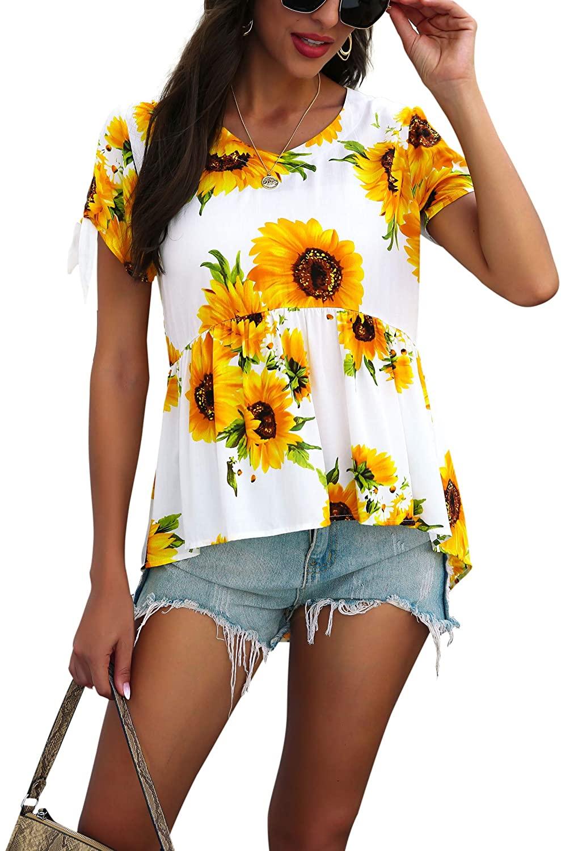 Hibluco Women's Floral Print Asymmetrical Short Sleeve Tops Blouse T-Shirts