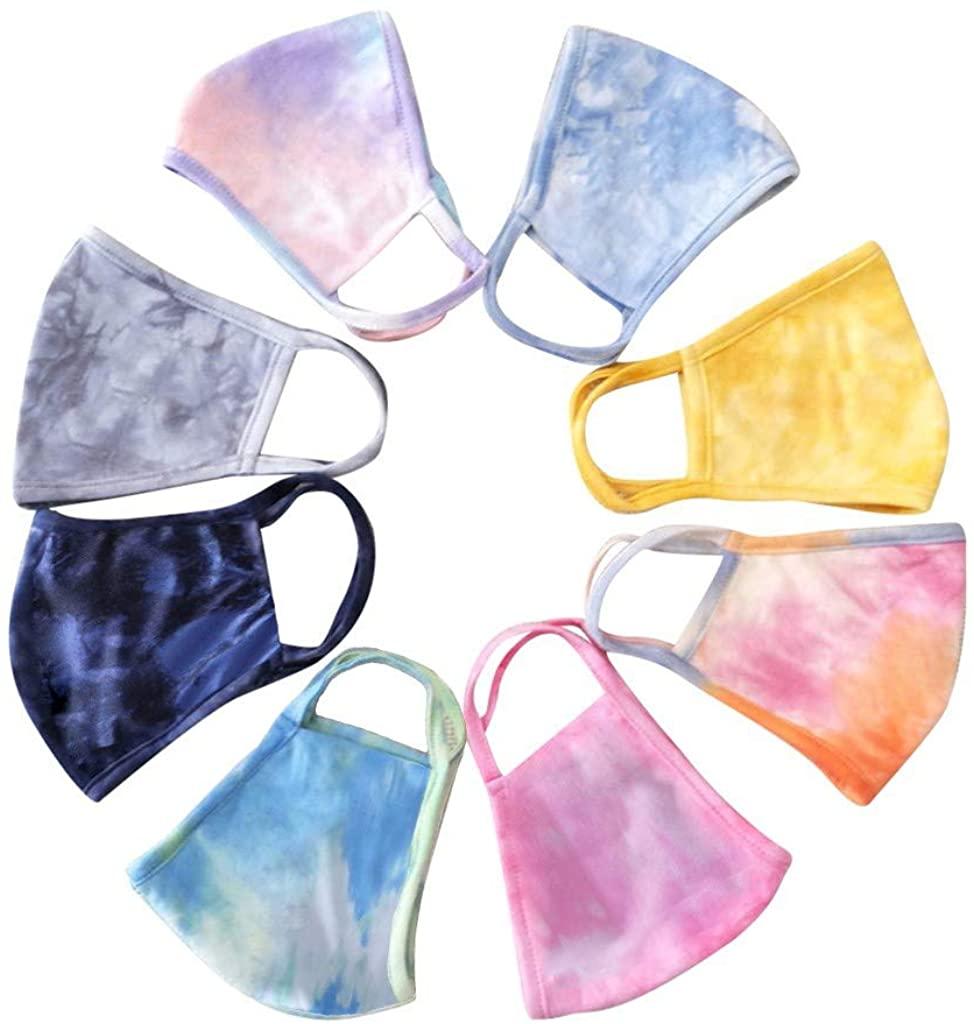 Mallocat 4PC Adult Tie Dye Face_Mask Reusable Washable Breathable Cotton Bandanas for Women Men Unisex