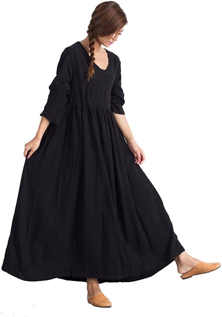 Sellse Womens Linen Loose Soft Casual Bridesmaid Caftan Large Size Dress Cotton Clothing Black